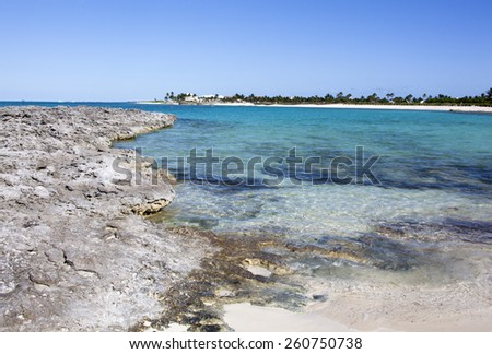 The landscape view of Paradise Island (The Bahamas). - stock photo