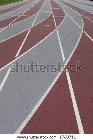 the lanes of a race track - stock photo