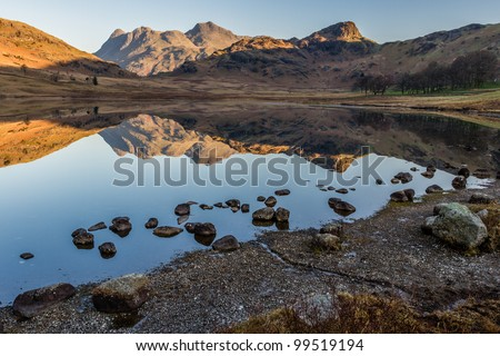 The Langale Pikes and Side Pike reflected in Blea Tarn, Little Langdale - stock photo