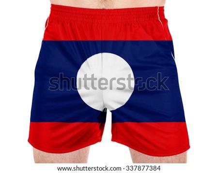The Laotian flag  - stock photo