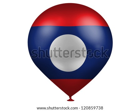 The Laotian flag  on a balloon