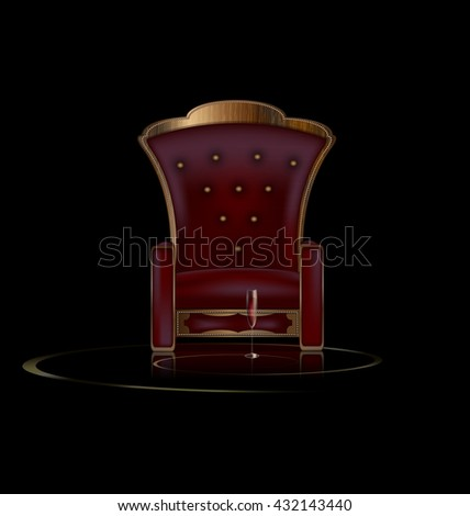 the large armchair in the dark room with glass of wine - stock photo