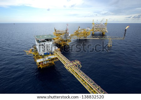 The  large offshore oil rig drilling platform - stock photo