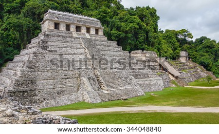 The large pyramid in the main square in the ancient city of Palenque - Mexico, Lstin America - stock photo