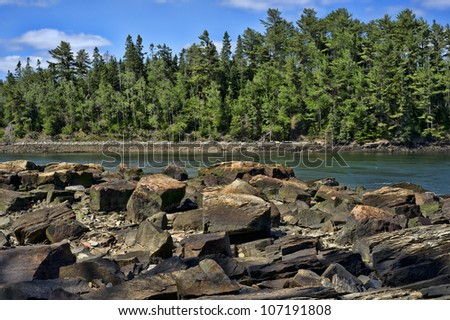 The large rocks found on the coast of Maine with salt water inlet and forest in background.