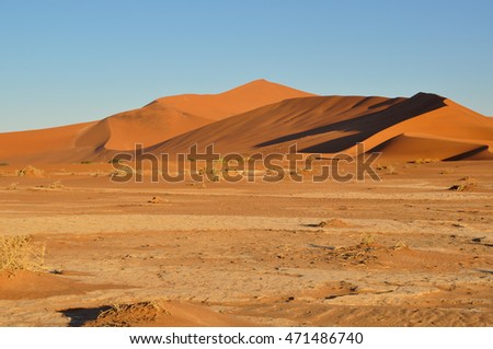 The large sand dunes in the Namib Sand Sea in Namibia Africa. The Namib Sand Sea is listed in the World Heritage list.