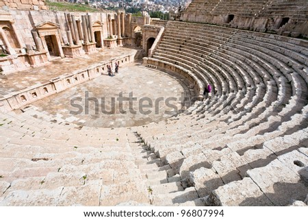 the Large South Theatre - in antique town Jerash in Jordan - stock photo