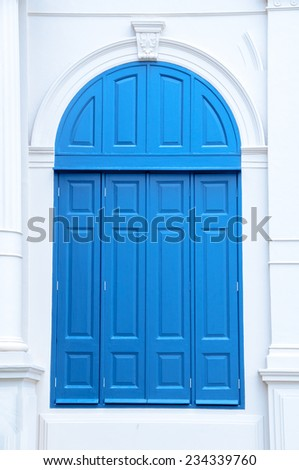 The large wooden entrance door - stock photo