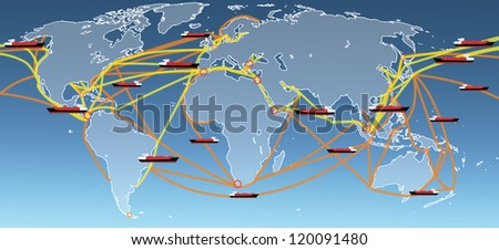 the large world shipping routes map. - stock photo