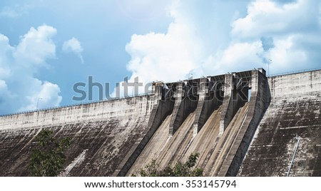 the largest and longest compacted concrete dam in thailand - stock photo