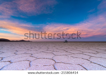 The largest salt flat in the world - stock photo