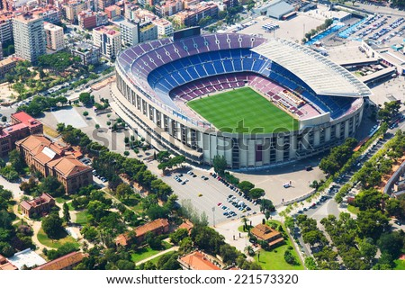The largest stadium of Barcelona from helicopter.  Spain - stock photo