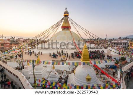 The largest stupa on sunset - stock photo