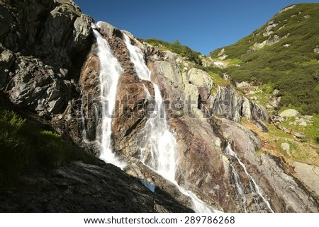 The largest waterfall in the Tatra Mountains. - stock photo