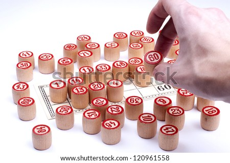 The last number to win in lotto white background - stock photo
