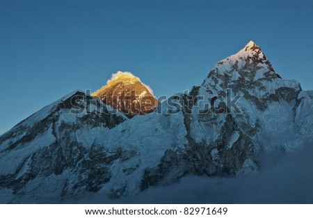 The last rays of the sun on Everest - Nepal - stock photo