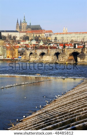 The late Snow in March Prague - gothic Castle above the River Vltava with the Charles Bridge