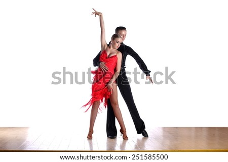 The latino dancers in ballroom isolated on white - stock photo
