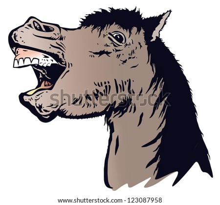 The laughing horse, illustration from photo - stock photo