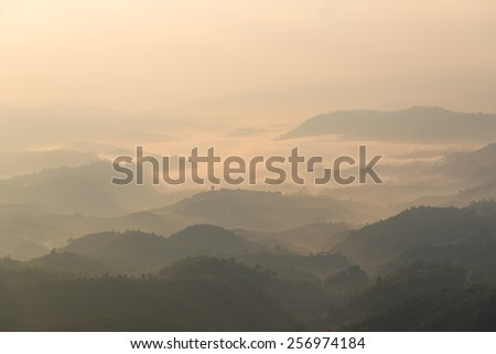 The layers of mountain in the fog.