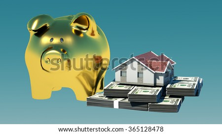 the layout of the house is on the bundles of dollar bills, close by gold the pig piggy Bank