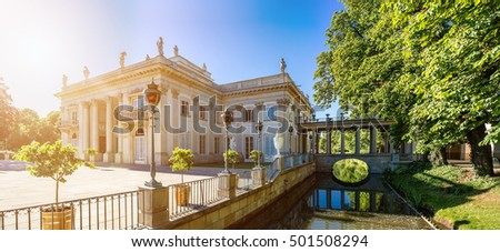The Lazienki Palace (Baths Palace, also called the Palace on the Water and the Palace on the Isle) is a Baroque palace in Warsaw Royal Baths Park, Poland
