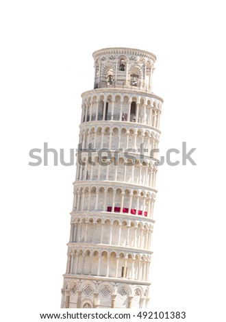 The leaning tower of Pisa in Italy, isolated on white background