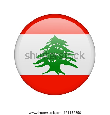 The Lebanese flag in the form of a glossy icon. - stock photo