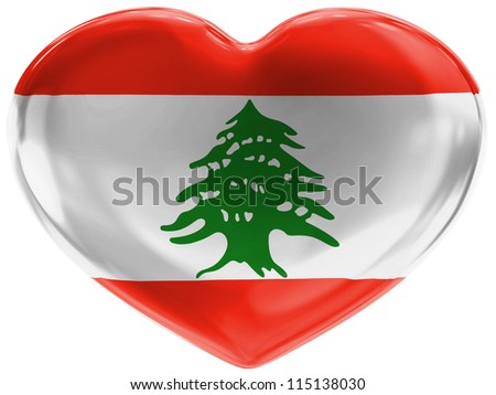 The Lebanese flag painted on 3d heart symbol on white background