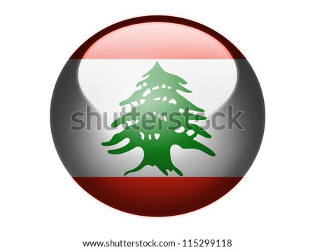 The Lebanese flag painted on glossy round sphere or icon - stock photo