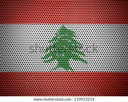 The Lebanese flag painted on metall grill - stock photo