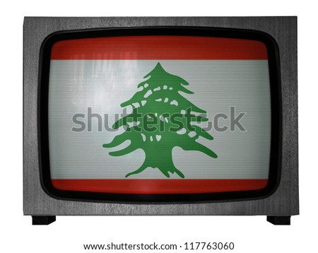 The Lebanese flag painted on old TV - stock photo