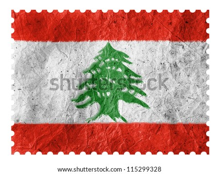 The Lebanese flag painted on paper postage  stamp - stock photo