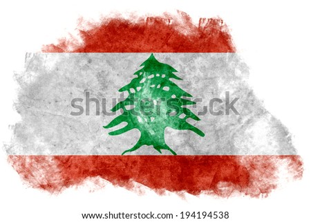 The Lebanese flag painted on white paper with watercolor  - stock photo