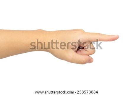 The left hand is pointing to the right. - stock photo
