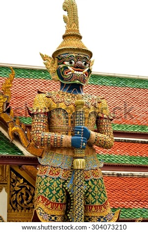 The legend giant stands in the temple, Thailand - stock photo