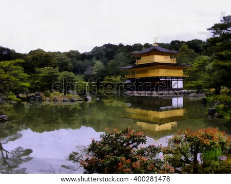 The legendary Golden Pavilion at the picturesque lake in Japan - stock photo