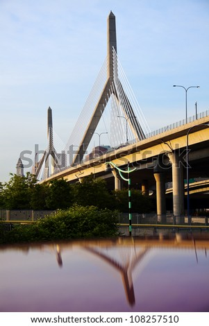 The Leonard P. Zakim Bunker Hill Memorial Bridge in Boston, Massachusetts