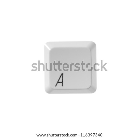 The letter A from a white computer keyboard - stock photo