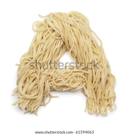 The letter A in spaghetti