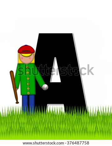 """The letter A, in the alphabet set """"Children Baseball"""" is black and trimmed with white.  Child is playing baseball in a field of green grass.  Equipment includes bat, ball and glove. - stock photo"""