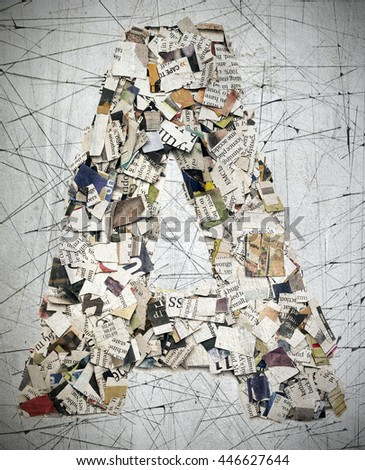 The letter A made from newspaper confetti - stock photo