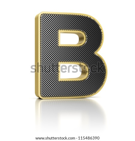 The letter B as a perforated metal object over white