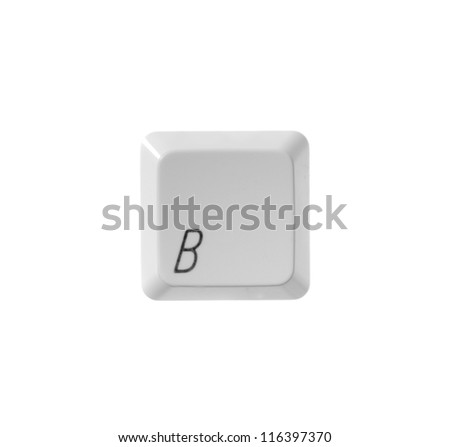 The letter B from a white computer keyboard - stock photo