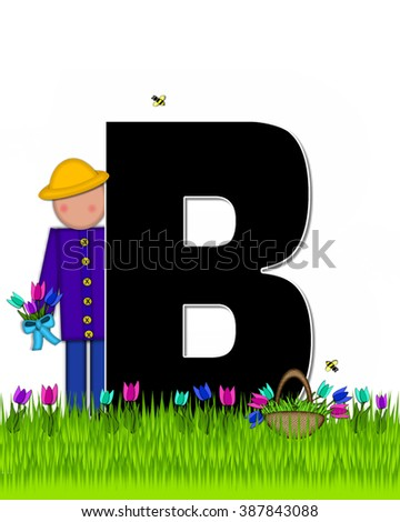 "The letter B, in the alphabet set ""Children Tulip Patch"" is black outlined with white.  Children hold tulip bouquet and stand in colorful tulip patch. - stock photo"