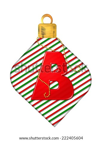 "The letter B, in the alphabet set ""Pinstripe Ornament"", is red.  Letter sits on red and green striped Christmas ornament. - stock photo"