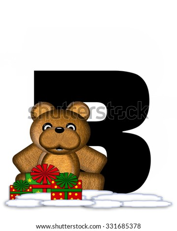 """The letter B, in the alphabet set """"Teddy Christmas,"""" is black and sits on pile of snow.  Teddy Bear and presents decorate each letter. - stock photo"""