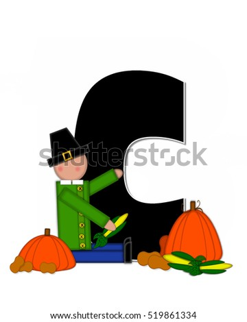 "The letter C, in the alphabet set ""Alphabet Children Thanksgiving,"" is black and decorated with pumpkins, corn and child wearing a pilgrim's hat."
