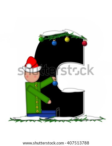 "The letter c, in the alphabet set ""Children Christmas Ornaments,"" is decorated with snow and pine boughs.  Child has Santa Claus hat and decorates letter."