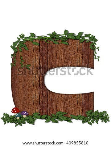 """The letter C, in the alphabet set """"Log"""" is filled with wood texture.  Vines and colorful mushrooms grow around letter.  Some letters have knot holes with peeking eyes. - stock photo"""